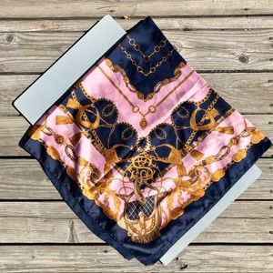 Accessories - Equestrian Horse Navy Blue & Pink Scarf Large
